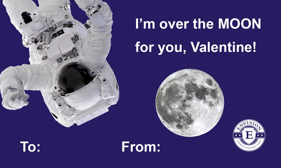 Astronaut themed Valentine's Day Card