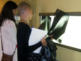 Students look at x-ray images during a medical simulation at NYLF Explore STEM