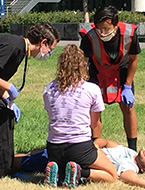 Advanced Emergency Medicine student engaged in high-intensity medical simulation