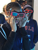 Students participate in a virtual reality (VR) exploration of the Red Planet (Mars) at NYLF Explore STEM Alumni