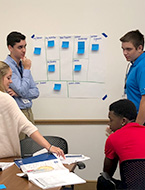 High school students participating in start-up business simulation