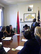 High school students participating in an embassy site visit at the Global Young Leaders Conference