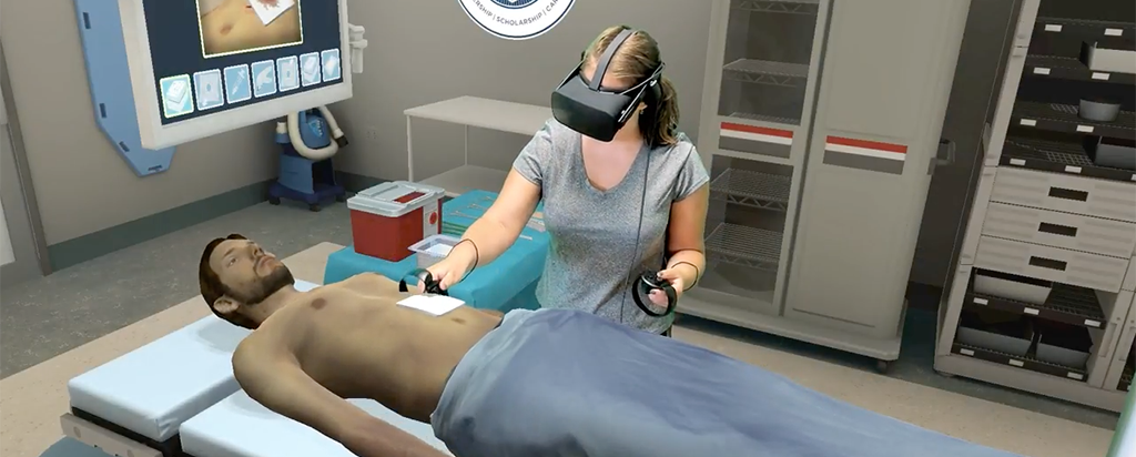 Student practicing surgical techniques through virtual reality