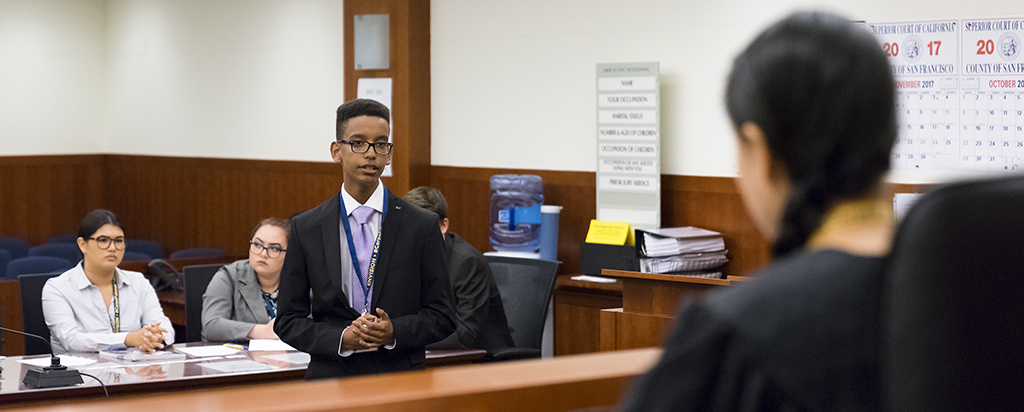 Future lawyer participating in a mock trial at Intensive Law & Trial with Stanford Law School